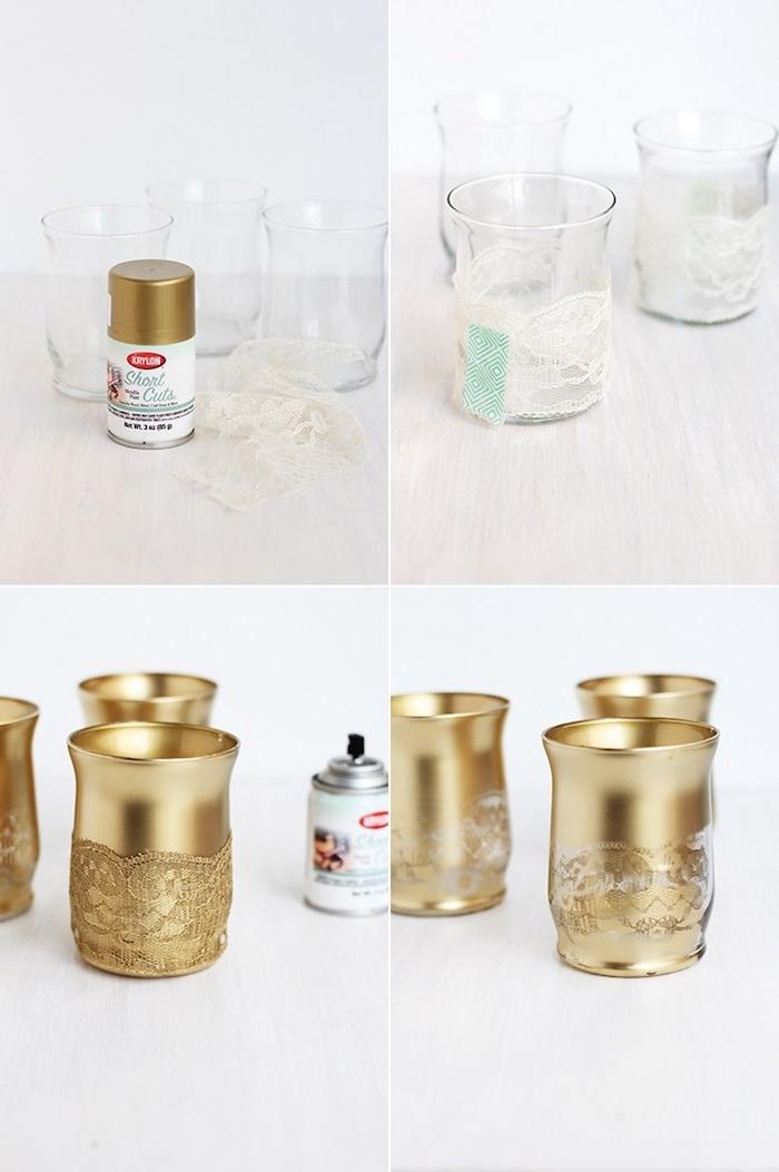 verre customsé de peinture or et motif dentelle pour fabriquer un bougeoir diy comme decoration automne