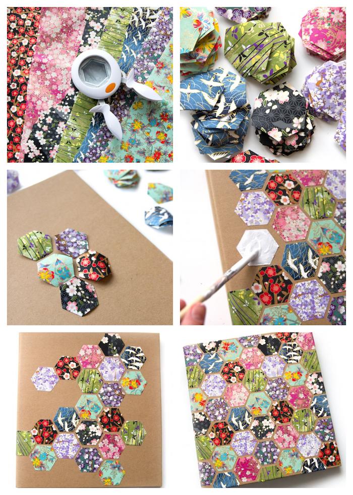 idée comment créer une couverture personnalisé pour agenda en hexagones colorées à motifs fleuris collés sur la couverture