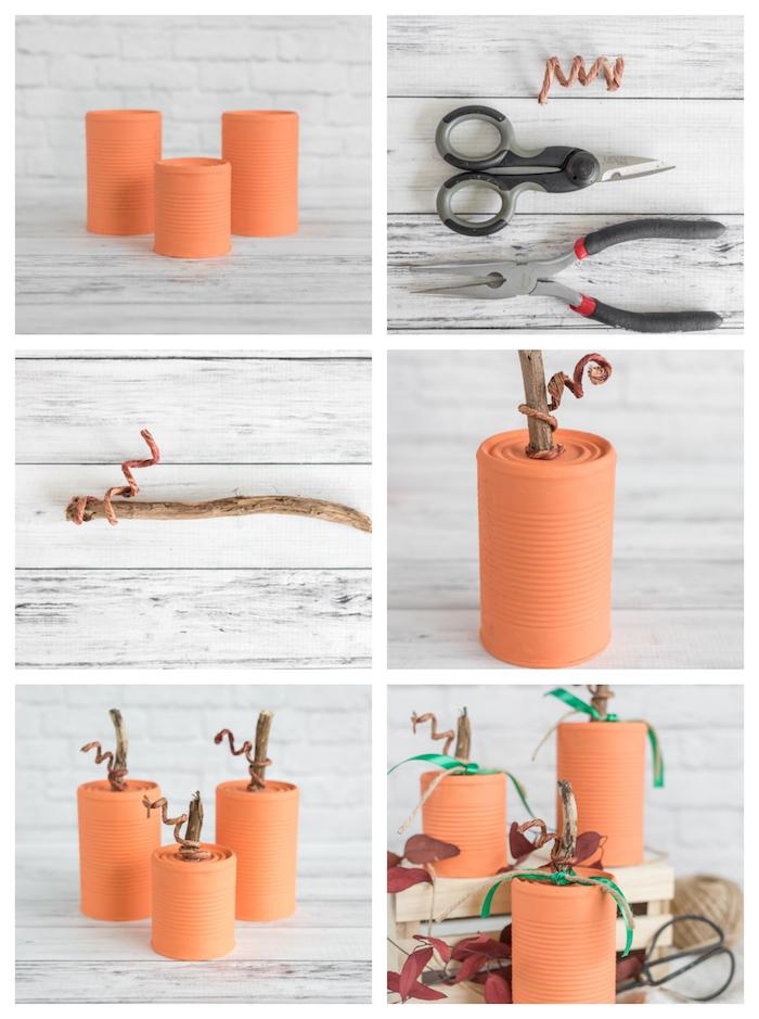 recyclage boite de conserve repeinte en orange motif citrouille avec tige de bois et feuilles mortes artificielles
