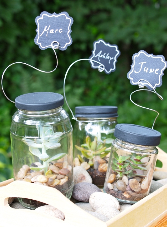 plan de table original pour mariage, objets décoratifs pour un mariage DIY, mini jardin avec plantes vertes et cailloux