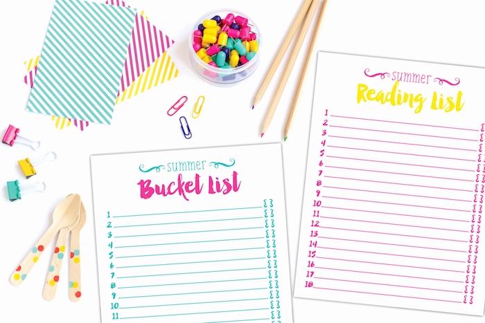 liste carnet de note personnalisé avec les activités et les occupations d été, agenda personnalisé facile à faire