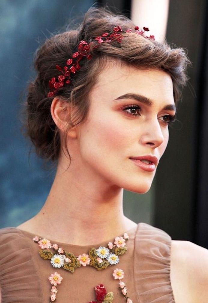 Choisir une belle coiffure mariage cheveux mi long, coiffure mariage boheme chic originale, le style des stars, copier la coiffure de tapis rouge