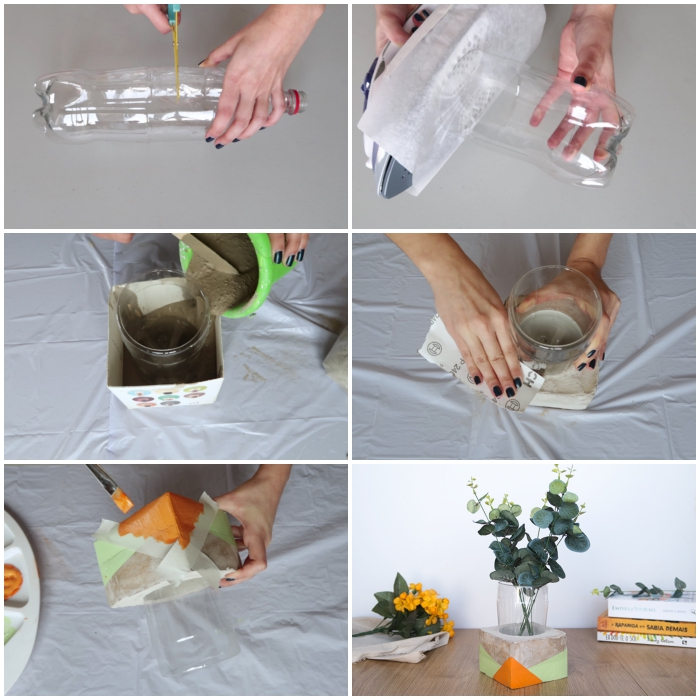 une simple bouteille en plastique recyclée en vase en béton créatif à motifs géométriques, idée de bricolage facile avec objet recyclé