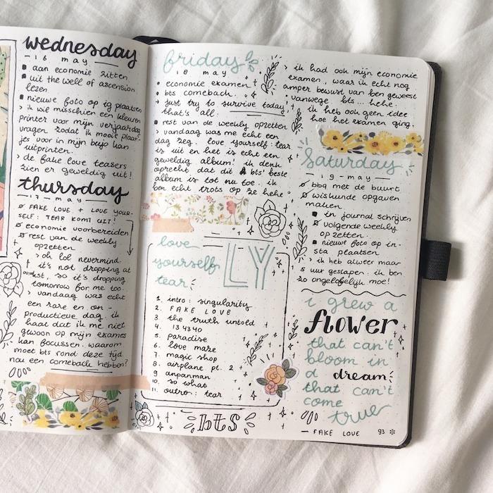 bullet journal idées pour organiser son semainier, tâches et pensées pour les jours de la semaine, bandes de washi tape, écriture caractères variées