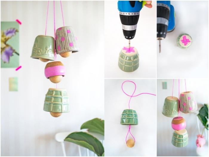 idée originale pour recycler de vielles tasses en céramique pour en faire une jolie suspension d'esprit bohème chic, idée de détournement objet original, des cloches