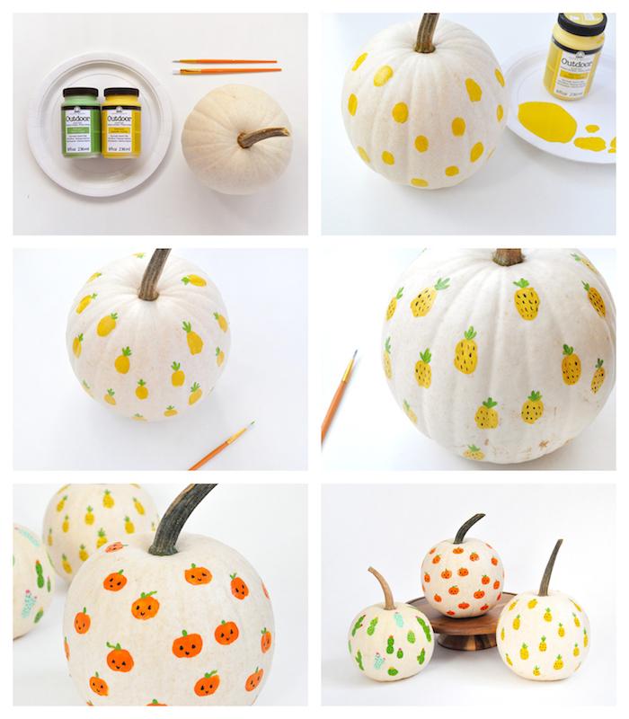 comment réaliser une activité manuelle halloween avec citrouilles avec motif ananas ou jack o lantern en peinture acrylique dessins sur citrouille original