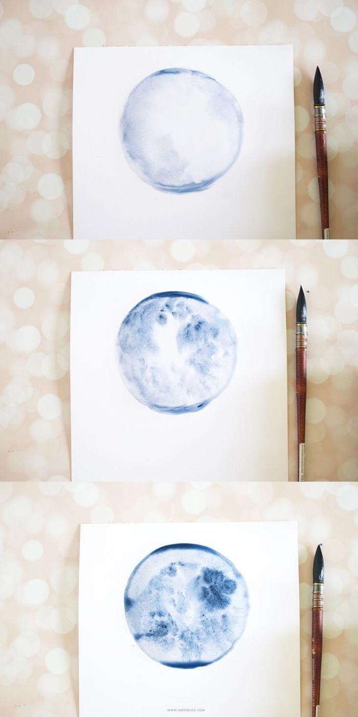 réaliser une pleine lune à l'aquarelle peinture pour débutants, créer des zones d'ombres à l'aquarelle