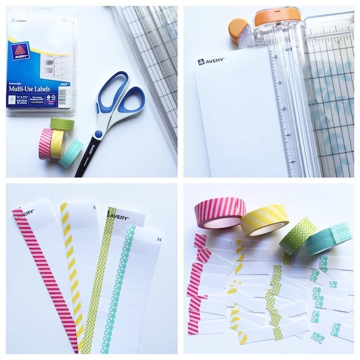 faire une intercalaire simple en bout de papier cartonné décoré de washi tape, carnet personnalisé bricolage facile