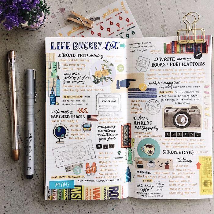 pages carnet bullet journal avec des dessins et images collées, technique scrapbooking, liste objectifs de la vie