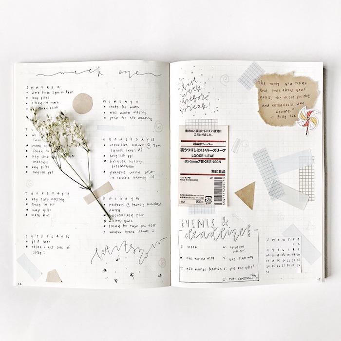techniques scrapbooking pour personnaliser son agenda en brin de fleur, bandes de washi tape, ticket de train souvenir, petit calendrier