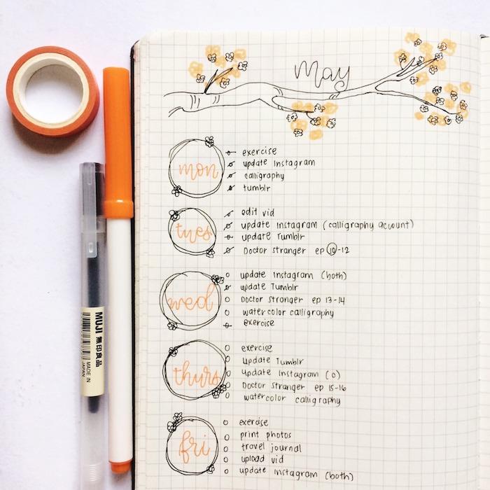 dessin de branche fleurie avec les jours de la semaine et les tâches à effectuer, cahier personnalisé original en dessins
