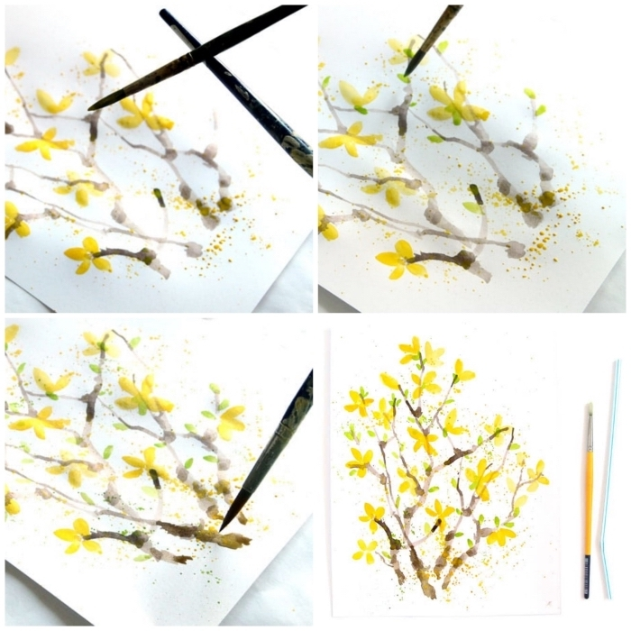 technique aquarelle pour débutants, branche fleurie à l'aquarelle au pinceau et à la paille