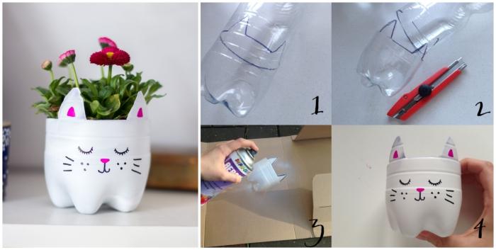 pot de fleur chat réalisée à partir d'une bouteille en plastique, idée déco récup pour l'intérieur ou l'extérieur