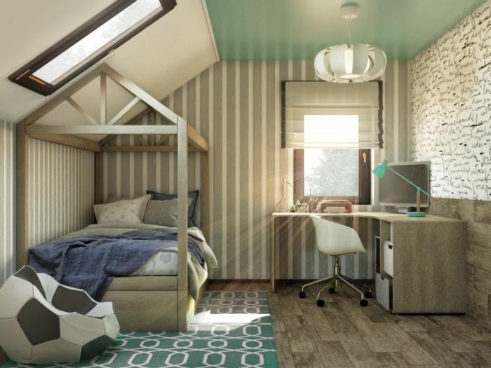 sol en bois, tapis vert, pouf design ballon de football, puits de lumière, bureau d'angle