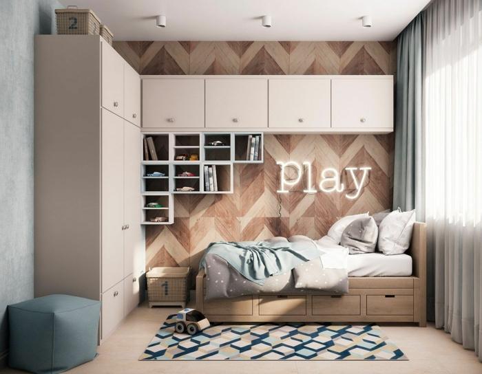 chambre de garçon moderne, idee deco chambre garcon couleurs neutres, déco chambre bois et blanc