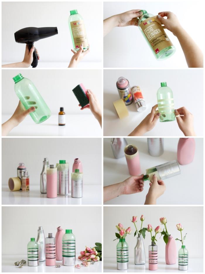 de jolies vases en bouteilles en plastique relookées avec de la peinture, deco recup facile avec des bouteilles en plastique