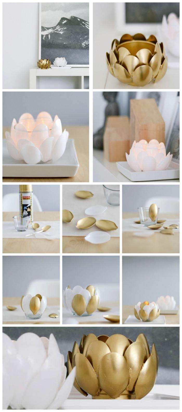 bougeoir déco en blanc et or en forme de lotus réalisé avec des cuillères en plastique, idee deco recup avec des cuillères en plastique