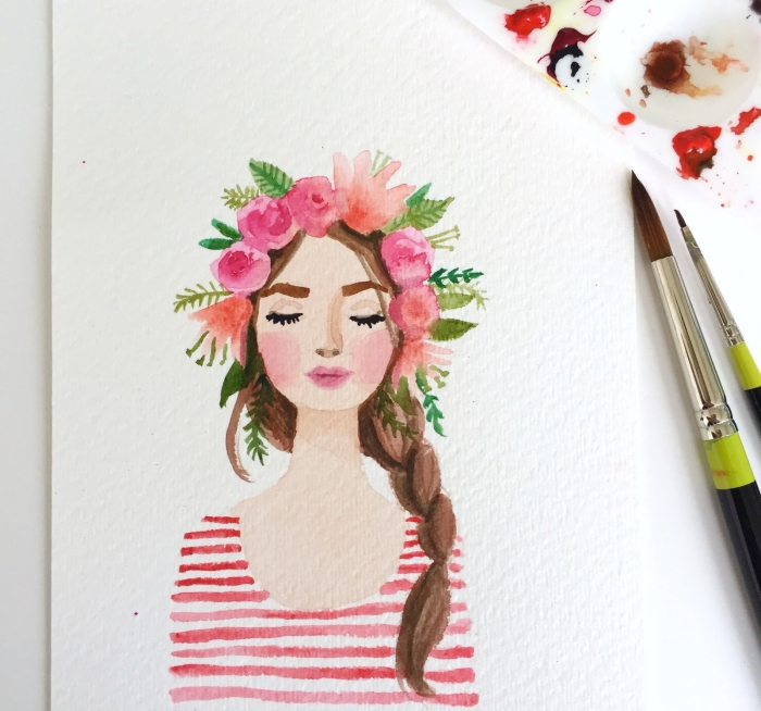 portrait féminin peint à l'aquarelle d'une fille avec couronne de fleur romantique et une tresse de côté, idées de peintures faciles pour commencer avec l'aquarelle