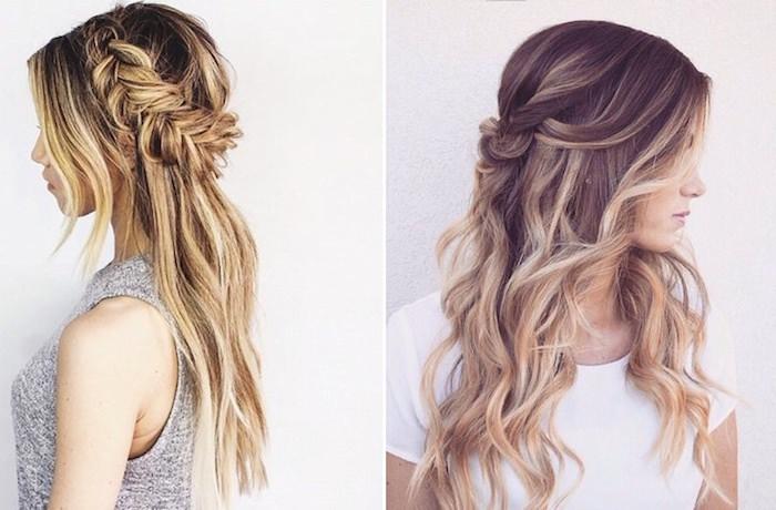 Fleurs pour accessoire de coiffure mariage invitée, coiffure simple mariage accessoires bohème, belles coiffures sur cheveux balayage blonde