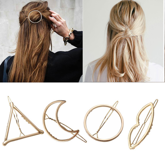 Idée hipster coiffure avec accessoire géométrique mariage, choisir une coiffure chignon décoiffée mariee belle femme