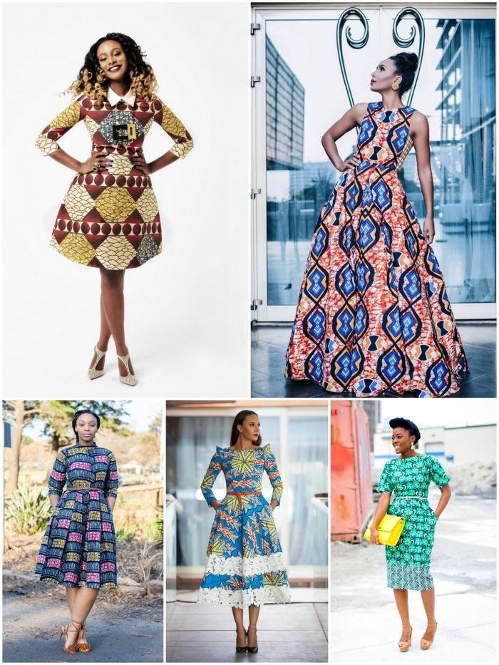 comment porter facilement l'imprimé wax, modèles de robes à coupes actuelles qui mettent en valeur la silhouette féminine