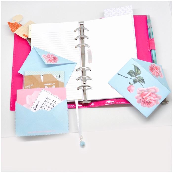 enveloppe à ins'rer dans son agenda pour conserver des tickets et autres papiers importants ou décoratifs
