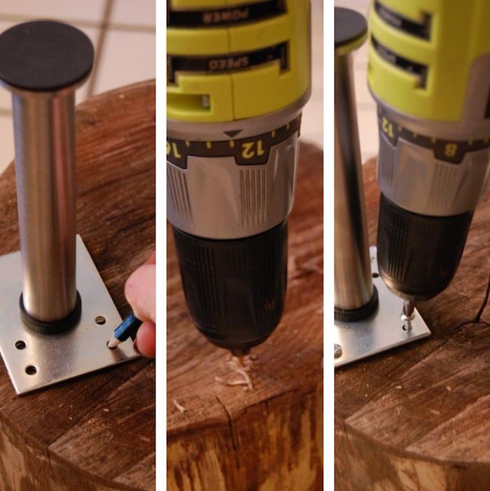 comment faire une table basse tronc bois naturel sur pied metal vissés