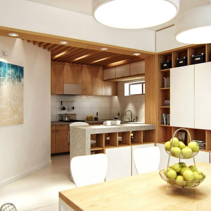 faux plafond suspendu, petite cuisine ouverte, bar de cuisine avec espace rangement, cabinets en bois