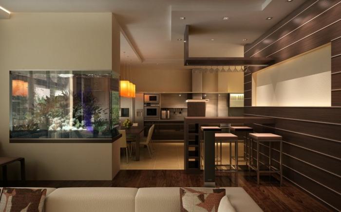 aménagement cuisine petite surface, sofa beige, bar de cuisine épuré aux tabourets carrés, décor beeige et marron