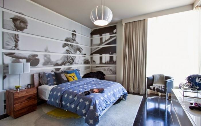 poster mural baseball, peinture chambre enfant originale, plafonnier gris, chevet en bois