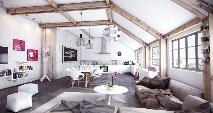 comment décorer un studio de style industriel et moderne avec meubles bois et blanc, exemple poutre apparente sur plafond et murs