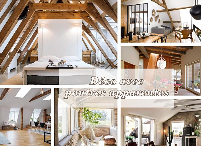 exemple de déco chaleureuse avec poutres peintes ou laquées de bois brut, modèle chambre à coucher rustique avec charpente de bois brut