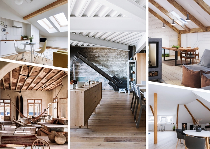 exemples et idee pour refaire plafond dans une pièce moderne, déco exotique dans un salon aménagé avec meubles de bois et objets en fibre végétal