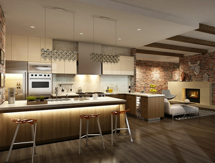 sol en bois, tabourets contemporains, ilot de cuisine lumineux, mur en briques, plafond en poutres apparentes, separation cuisine salon