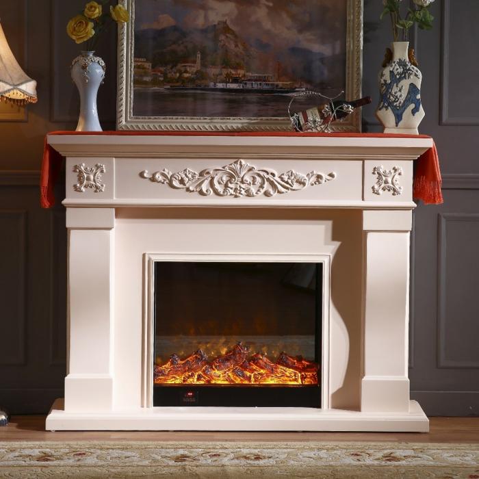 cheminée électrique fausses flammes, cadre peinture paysage, deux vases décoratifs
