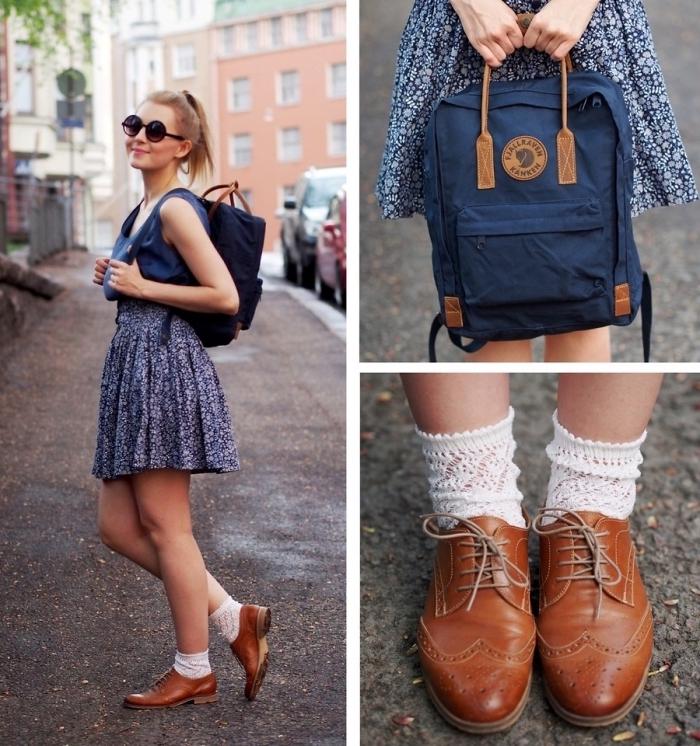 exemple comment porter des chaussures derbys en marron avec chaussures apparentes à design broderie blanche