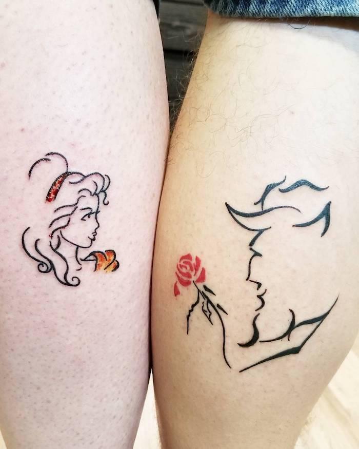tatouage la belle et la bete, tatouage amour éternel, la femme et l homme qui s aiment