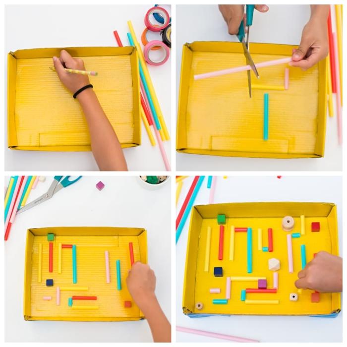 activité manuelle primaire avec du carton, réaliser une labyrinthe à bille à partir d'un couvercle de boîte à chaussure et des pailles