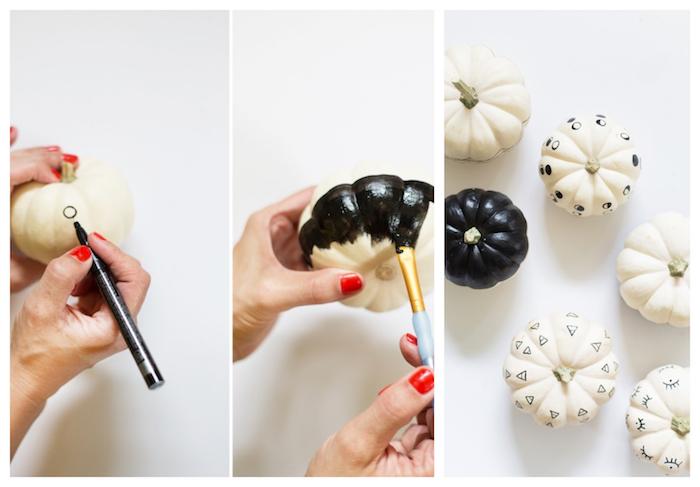 bricolage halloween facile avec mini citrouille repeinte de peinture noire et dessin à l indélébile motifs geometriques noir et blanc