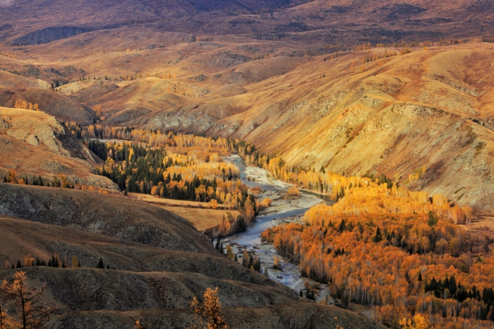 une rivière qui coule au sein de la montagne, fond écran automne, jolie paysage