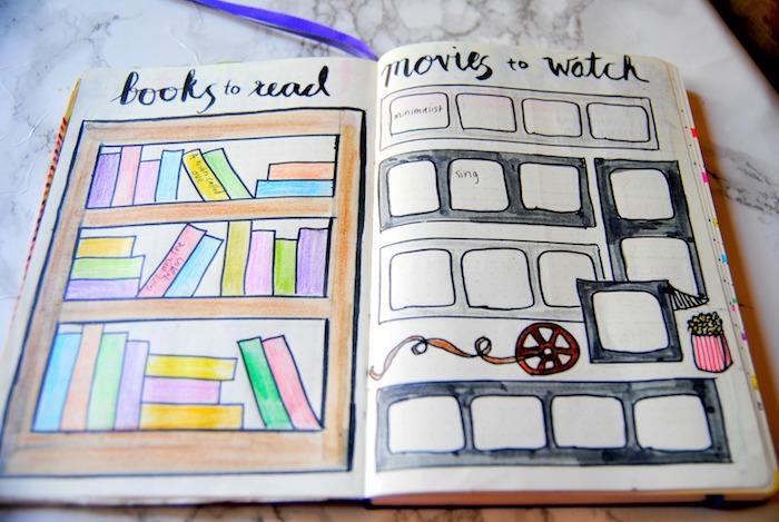 liste avec les livres à lire et les filmes à regarder, dessin bibliothèque livres colorés et dessin pellicule avec cases
