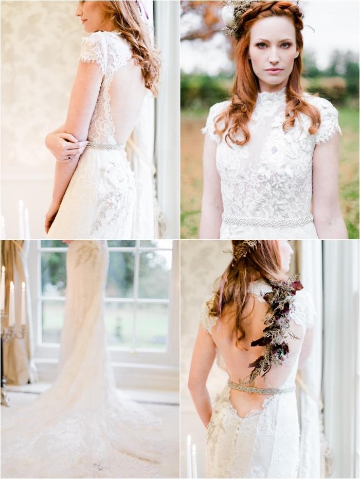 robe de mariée dos nu dentelle à col montant et à manchettes courtes romantique, accentuée à la taille par une ceinture bijou