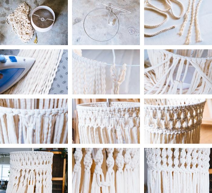 tuto macramé suspension, étapes à suivre pour faire un lustre en macramé avec structure abat-jour et corde en coton