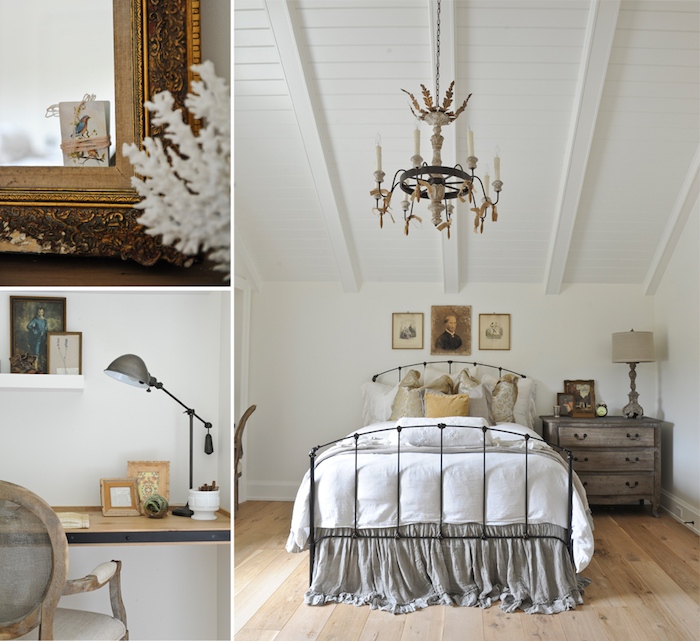 sol parquet de bois, deco chambre sous pente vintage, lit fer forgé, linge de lit blanc, gris et beige, commode table de nuit bois brut, lustre rustique