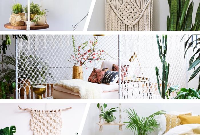 comment faire un objet en macramé plante facile, déco de salon avec meubles de bois et objets en macramé et plantes vertes