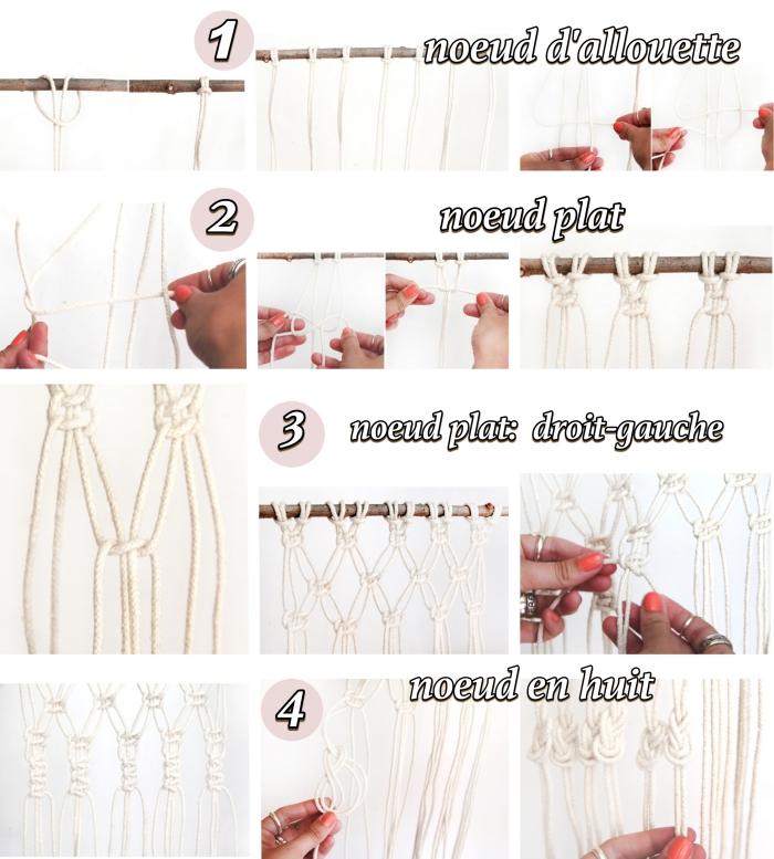 déco murale avec un objet DIY macramé, étapes à suivre pour faire une suspension macramé avec noeuds d'alouette et noeuds plats