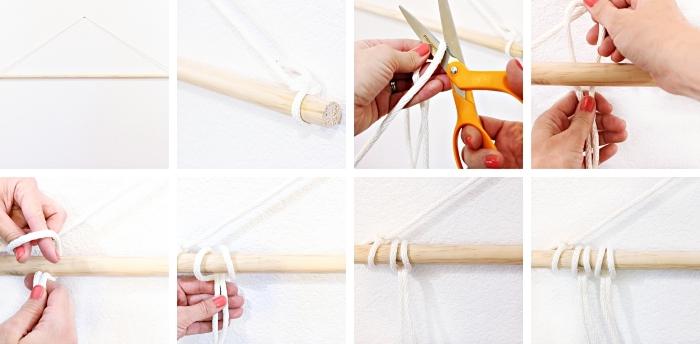 apprendre le macramé étape par étape, tutoriel pour réaliser une suspension murale macramé avec bâton de bois et corde coton