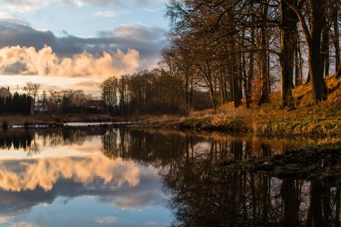 photographie ciel et cours d'eau, bois près de l'eau, nuages, automne, lever du soleil