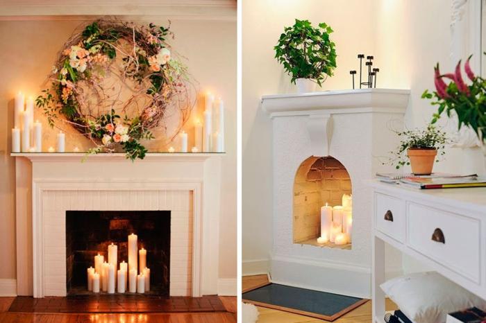 jolie cheminée décorative, couronne de fleurs roses et feuilles vertes, bougies allumées, pots de fleurs