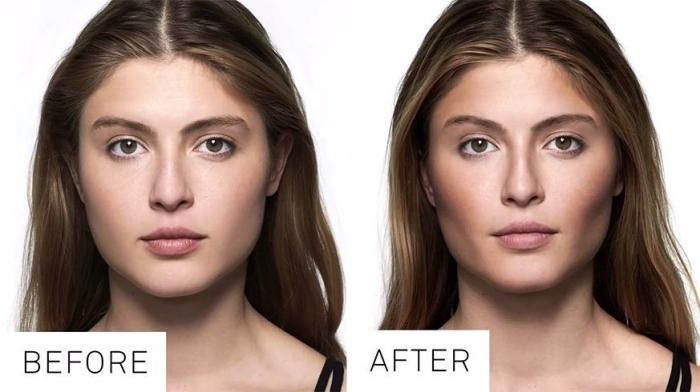 idée de maquillage pour affiner son visage, modèle de contouring avant apres avec joues et front sculptés en teinte foncée
